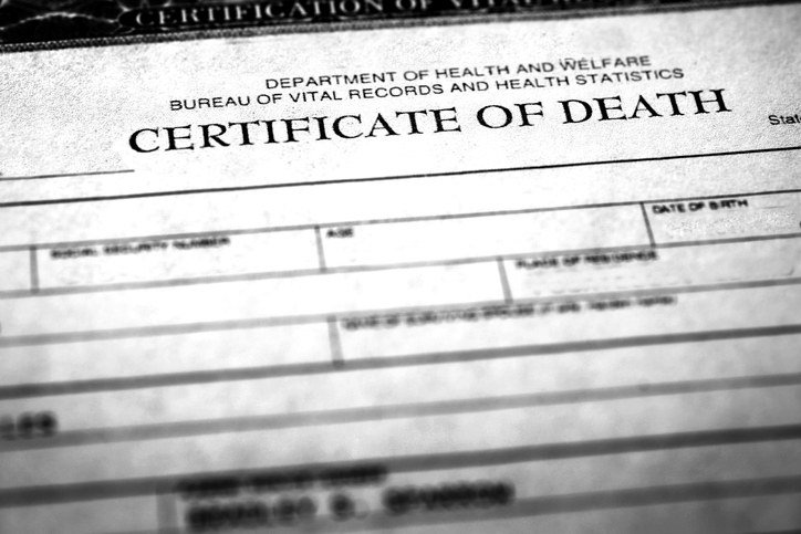 certificate of death